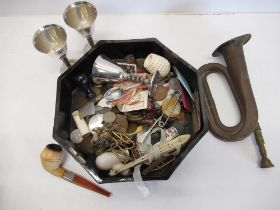 Lacquered oak box containing assorted coinage, silver plated sherry cups, pipe, medallions, small