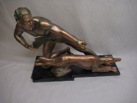 Art deco figure of a man and hunting dog