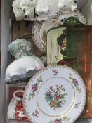 Trio of Shelley plates with stand, Royal Doulton serving dish, jug in the form of a begging dog etc