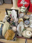 Various ceramics including a Royal Doulton chamber pot, Royal Albert framed porcelain tile, Gibson's