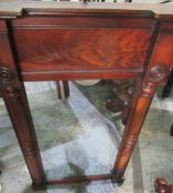 Regency mahogany pier glass, rectangular plate with curl veneer frieze enclosed by column supports