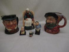 "Royal Dalton ""Forty Winks"" figurine ""Falstaff"" toby jug and other toby jug, ""Fat Boy"", ""Micawber"""