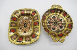 Royal Crown Derby 1128 Old Imari pattern - circular fluted dish with pierced handles D16cm and