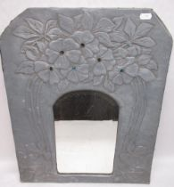 C20th Art Nouveau mirror with embossed pewter surround with poppies and enamel highlights, arched