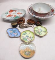 Pair of Chinese trinket dishes decorated with exotic birds and flowers set in mottled green ground