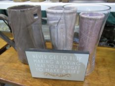 Two lilac stoneware vases, large brown stoneware jug H30cm, two glass vases, a motivational sign,