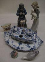 C20th Royal Copenhagen blue and white desk set, Danish model of a goose, Royal Copenhagen model of a