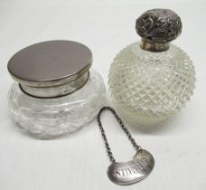 Georgian silver sherry bottle ticket, early C20th dressing table jar with hobnail cut decoration and