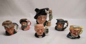 Six Royal Dalton character jugs including Winston Churchill