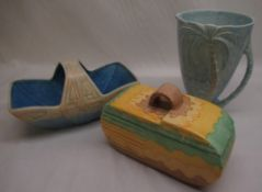 Beswick palm jug, turquoise glaze, impressed 1068 to the base, 1930's Beswick tureen and cover