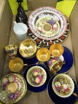Royal Crown Derby Imari pattern (1128 plate) D27cm, smaller plate D21.5cm, pair of plates D18cm,