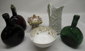 Three glass bottles, Spode Felspar bowl, small lidded urn and white creamware jug (6)
