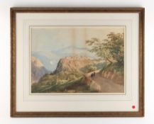 Property of a lady - 19th century English school - AN ITALIAN HILL-TOP VILLAGE - watercolour, 11.