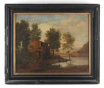 Property of a lady - Dutch school, 18th century - FIGURES AND HOUSE BY LAKESIDE - oil on canvas,