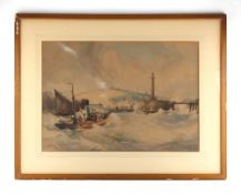 Property of a gentleman - Thomas Bush Hardy (1842-1897) - CHOPPY SEAS AT HARBOUR MOUTH -