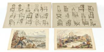 Property of a deceased estate - an elephant folio containing watercolours & drawings by Kathleen