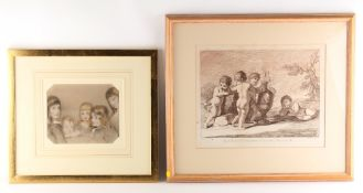 Property of a deceased estate - English school, 19th century - BROTHERS AND SISTERS - pastel, 6.25