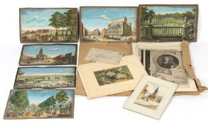 Property of a deceased estate - a folder containing assorted watercolours, drawings & prints, 18th