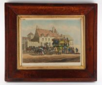 Property of a lady - a mid 19th century English oak framed aquatint entitled 'FRENCH DILIGENCE',