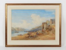 Property of a deceased estate - RHM (19th century) - AN EXTENSIVE ITALIANATE LAKE SCENE WITH FIGURES