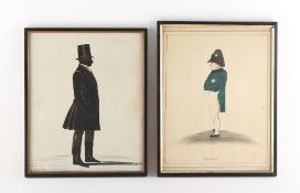 A mid 19th century full length silhouette of a gentleman, with 'bronzing' and highlighting, 10.65 by