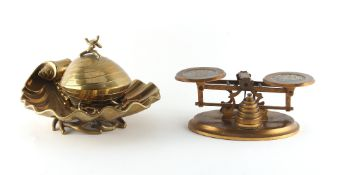 Property of a lady - a set of brass postal scales with Wedgwood style pale blue jasperware inset