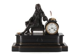 Property of a deceased estate - a 19th century black marble cased mantel clock surmounted by a