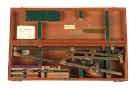 Property of a deceased estate - a lacquered brass pantograph by Stanley, London, with accessories in