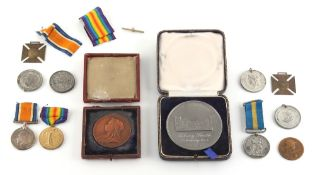 Property of a deceased estate - a box containing assorted military & other medals including a pair