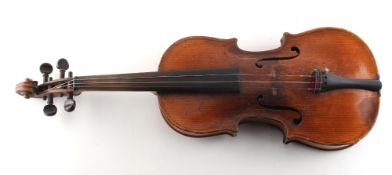Property of a deceased estate - a late 19th century German violin, old paper label inscribed '