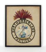 Property of a gentleman - a needlework military regimental crest of the Northumberland Fusiliers, in