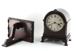 Property of a deceased estate - an early 20th century mahogany arched cased mantel clock with