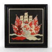 Property of a gentleman - Royal Navy interest - a 19th century silkwork military naval coat of arms,