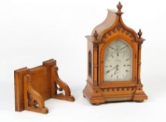 Property of a deceased estate - a very large Victorian oak gothic cased bracket clock with