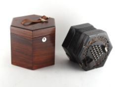 Property of a gentleman - a Wheatstone 48-button concertina, minor losses to fretwork, working