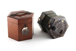 Property of a lady - a Victorian Wheatstone 48-button concertina, in fitted case. Footnote - this