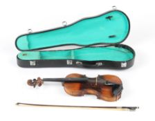 Property of a gentleman - a late 19th century German violin, with old William Forster, London label,