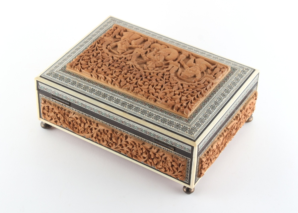 Property of a gentleman - a late 19th / early 20th century Anglo-Indian carved sandalwood & sadeli - Image 3 of 4