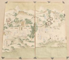 A pair of unframed Chinese scroll paintings on paper depicting acrobats in court landscapes, early