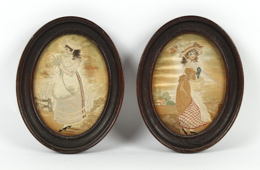 Property of a gentleman - a pair of 19th century silkwork oval pictures depicting country girls,