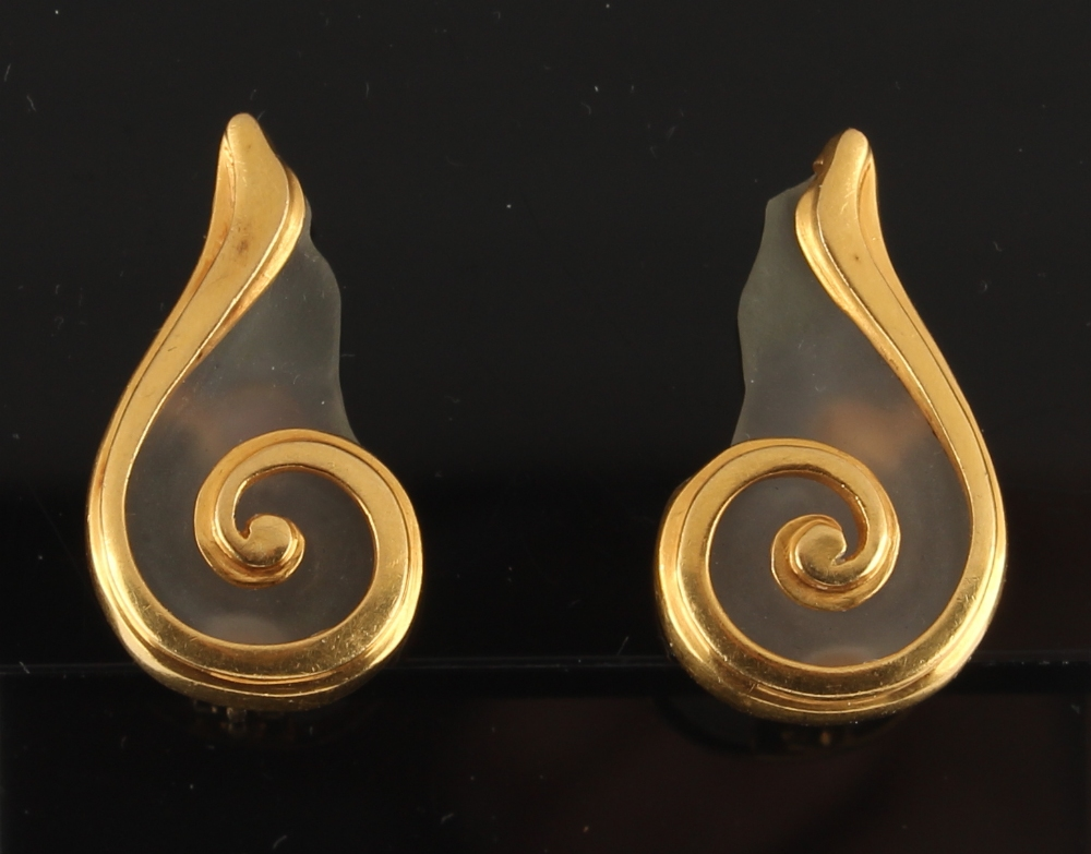 Lalaounis - a pair of 18ct yellow gold rock crystal earrings of scroll design, by Ilias Lalaounis,