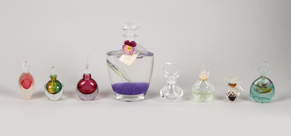 Property of a lady - a group of seven assorted glass scent or perfume bottles including Lalique