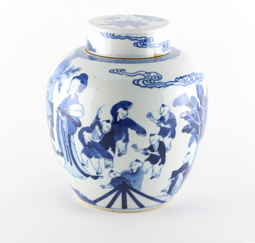 Property of a lady - a 19th century Chinese blue & white ovoid ginger jar & cover, painted with - Image 3 of 3
