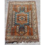 Property of a gentleman - a Turkish hand knotted rug of Kazak design, 91 by 63ins. (232 by 160cms.).