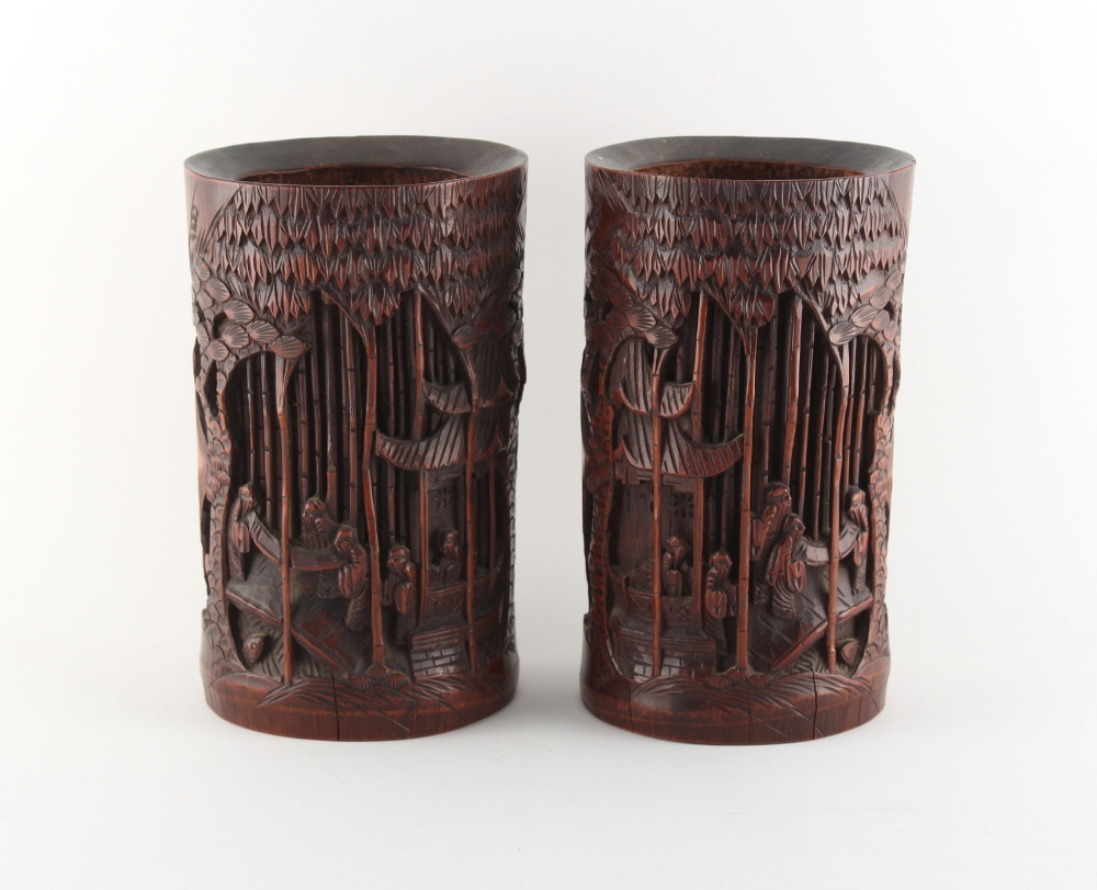 Property of a gentleman - a pair of Chinese carved bamboo brush pots, bitong, each 8ins. (20.