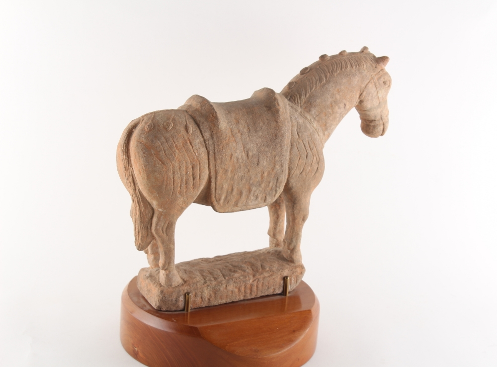Property of a gentleman - a Chinese Tang style pottery model of a horse, on wooden stand, 13. - Image 2 of 2