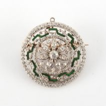 A good late Georgian diamond & green enamel openwork circular brooch, with suspension loop for