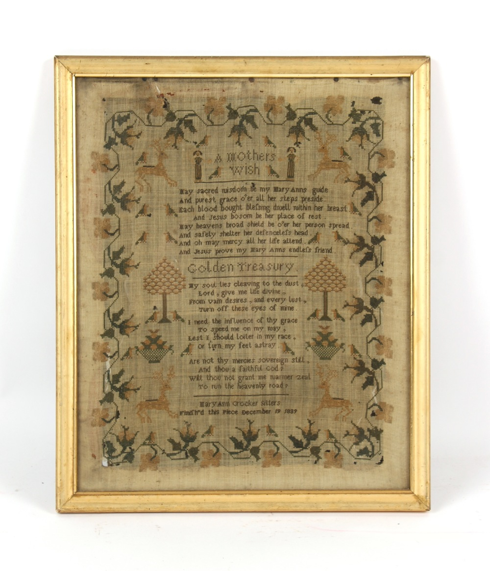 Property of a lady - a 19th century verse sampler entitled 'A mother's wish' and 'Golden