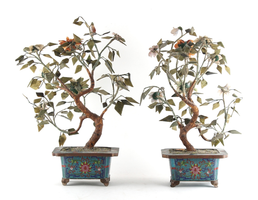 Property of a lady - a pair of Chinese cloisonne & hardstone models of trees, early 20th century, - Image 2 of 2