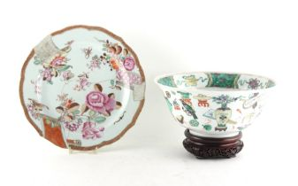 Property of a lady - a Chinese famille verte bowl painted with precious objects, Qing dynasty, re-